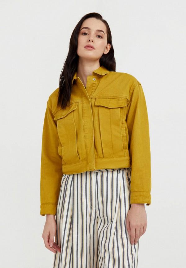 женская джинсовые куртка finn flare, желтая