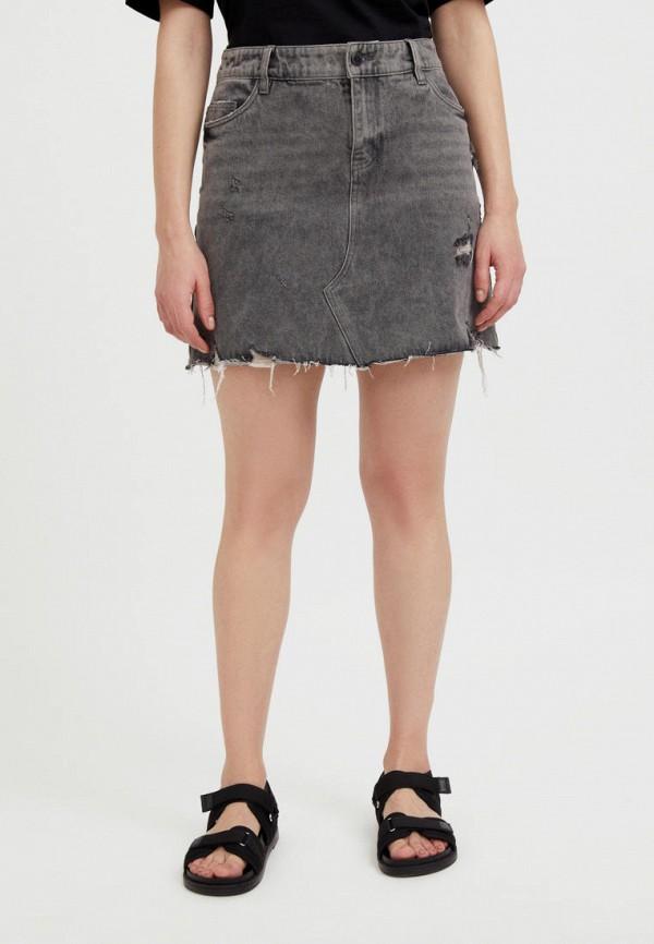 Юбка джинсовая Finn Flare серого цвета