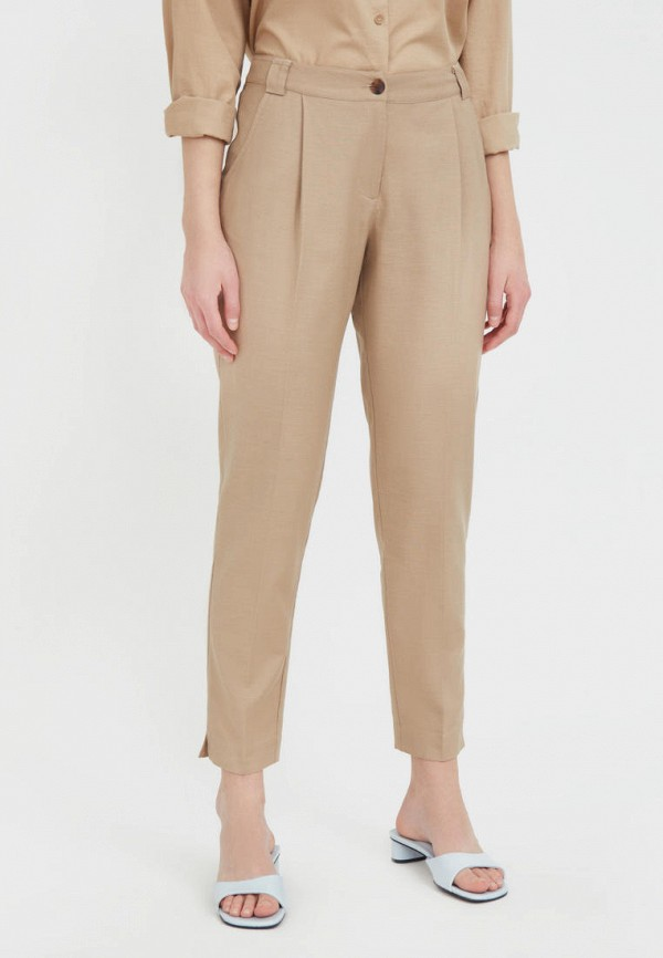 женские зауженные брюки finn flare, бежевые