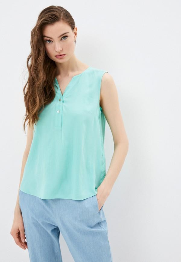 женская блузка без рукавов baon, бирюзовая