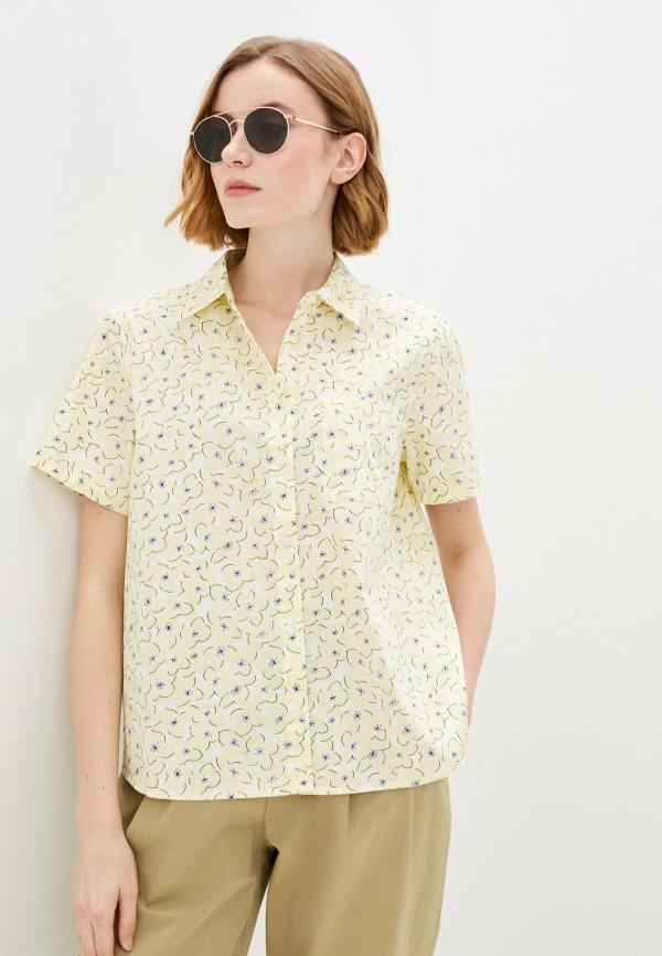 женская рубашка с коротким рукавом baon, желтая