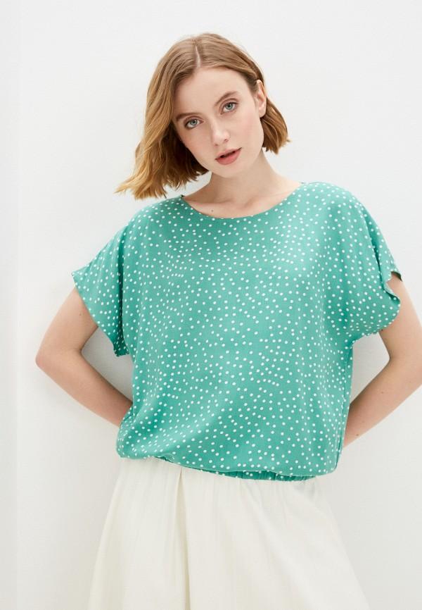 женская блузка с коротким рукавом baon, зеленая