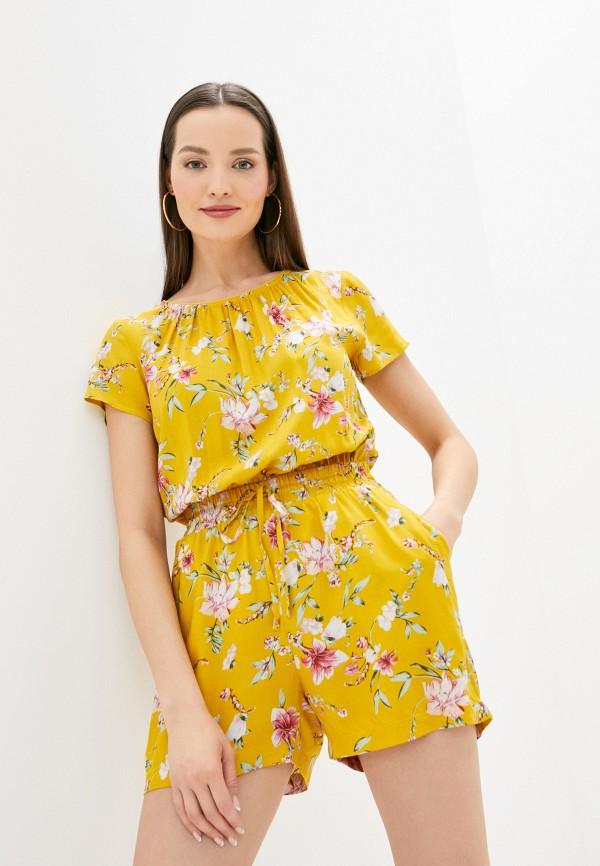 женский комбинезон с шортами baon, желтый