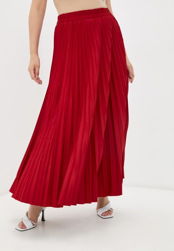 женская плиссированные юбка полное счастье, бордовая