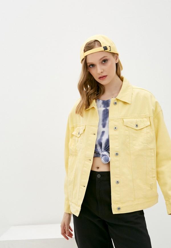 женская джинсовые куртка befree, желтая