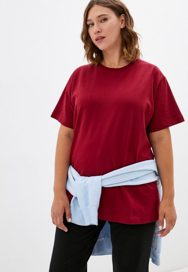 женская футболка delori, бордовая
