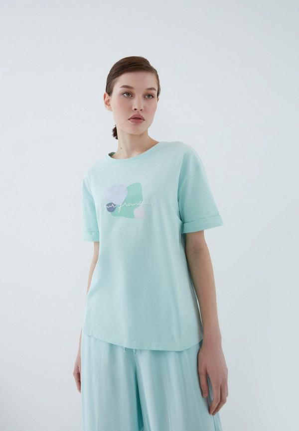 женская футболка zarina, бирюзовая