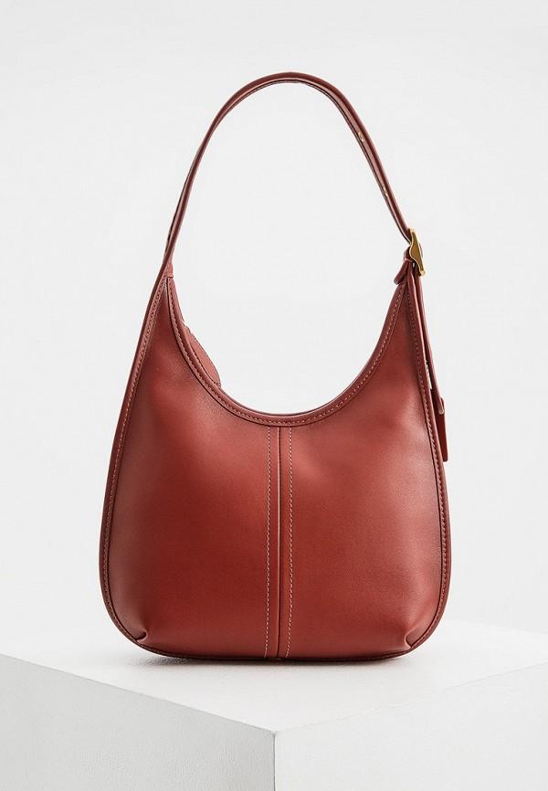 женская сумка через плечо coach, красная