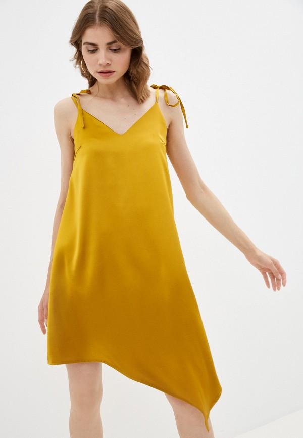женское платье-комбинация fnc, золотое