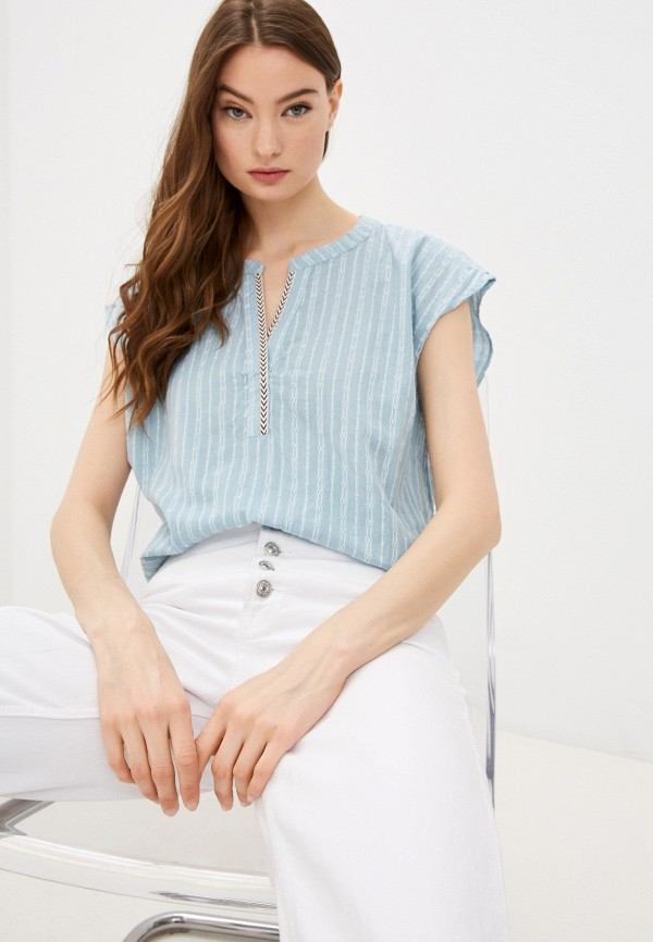 женская блузка без рукавов baon, голубая