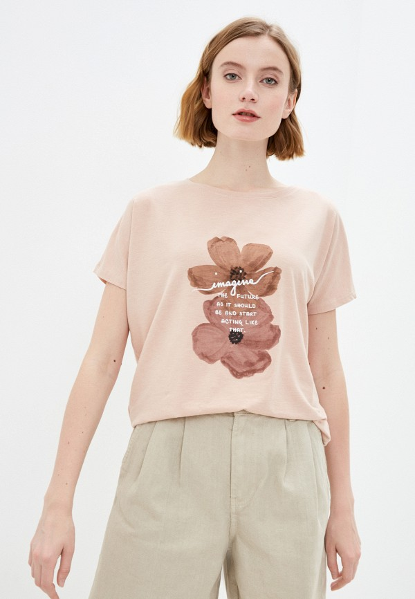 женская футболка baon, розовая