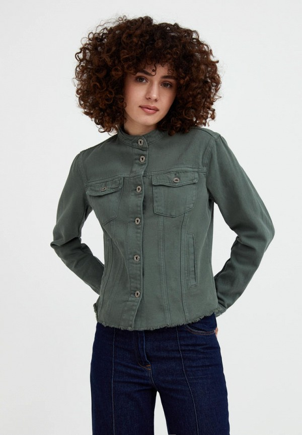 Куртка джинсовая Finn Flare зеленого цвета