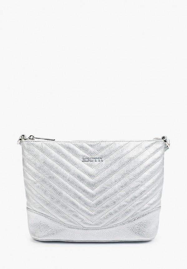 женская сумка через плечо alessandro birutti, серебряная