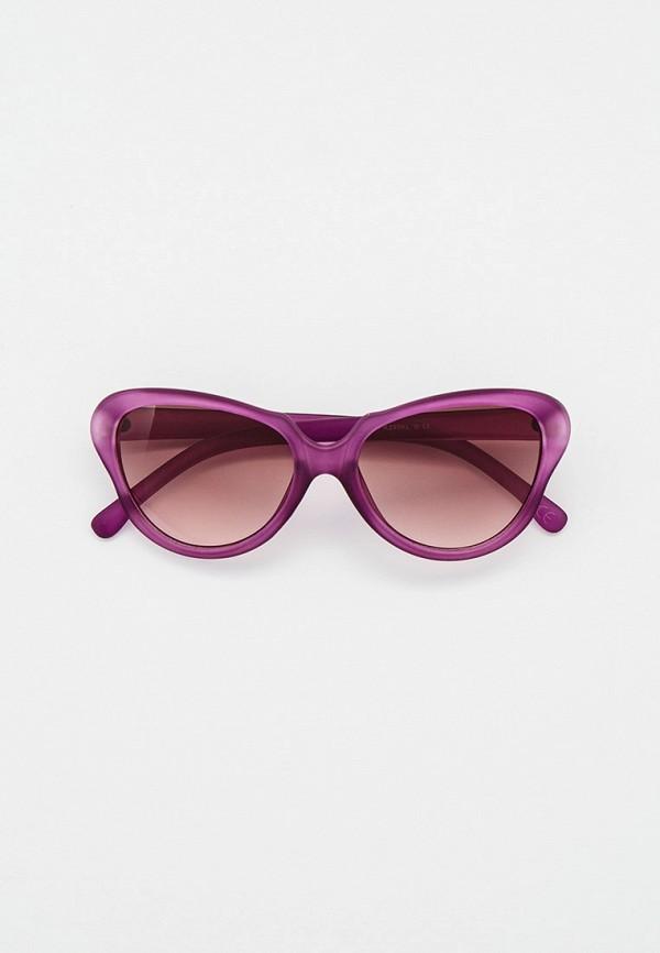 женские солнцезащитные очки кошачьи глаза модные истории, фиолетовые