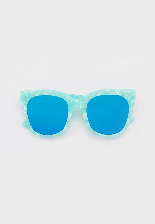 женские солнцезащитные очки кошачьи глаза модные истории, бирюзовые