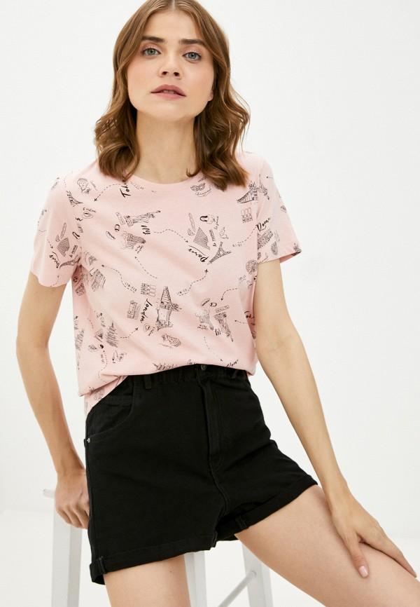 женская футболка zolla, розовая