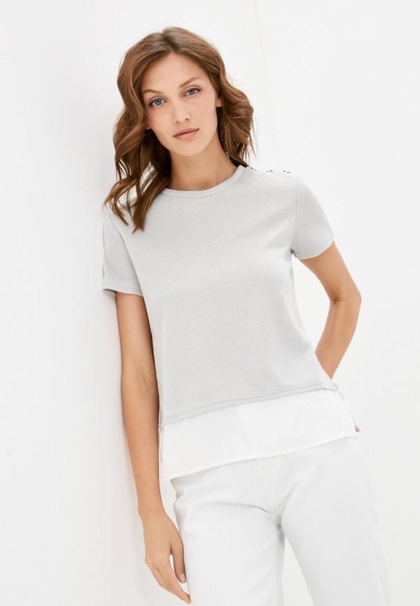 женская футболка zolla, серебряная
