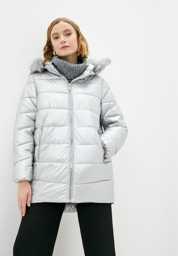 женская утепленные куртка zolla, серебряная