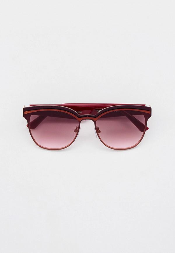женские круглые солнцезащитные очки furlux, бордовые