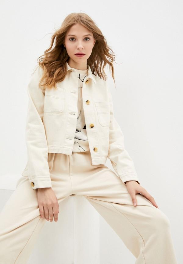 женская джинсовые куртка befree, бежевая