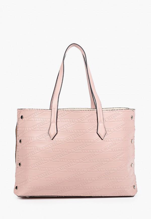 женская сумка-шоперы vitacci, розовая