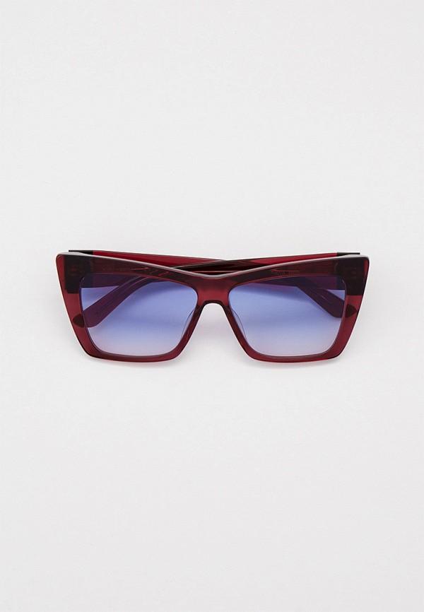 женские солнцезащитные очки кошачьи глаза karl lagerfeld, бордовые