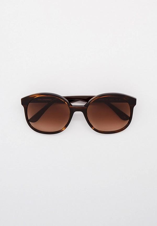 женские солнцезащитные очки кошачьи глаза karl lagerfeld, коричневые