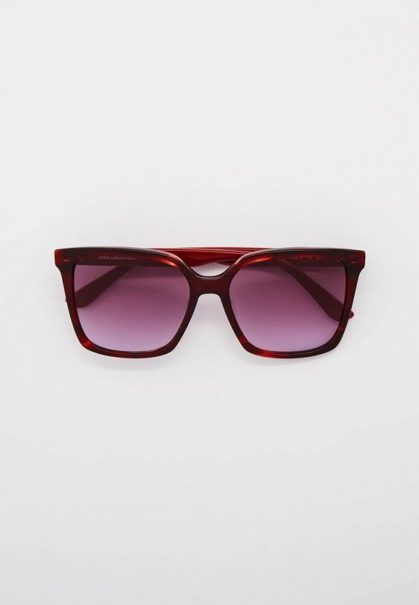 женские квадратные солнцезащитные очки karl lagerfeld, бордовые