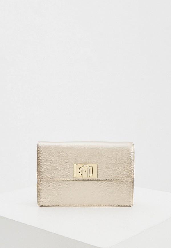 женская сумка через плечо furla, золотая