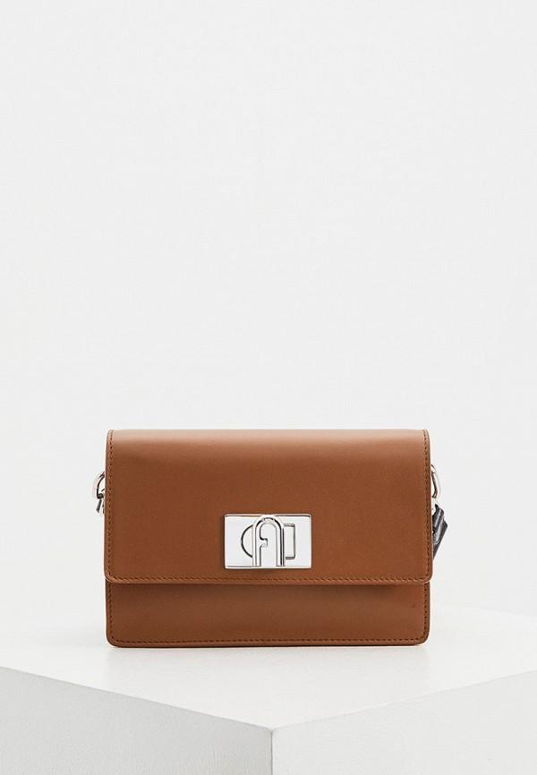 женская сумка через плечо furla, коричневая