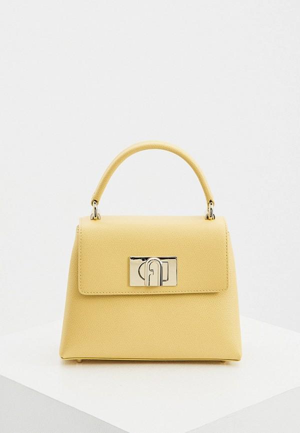 женская сумка с ручками furla, желтая