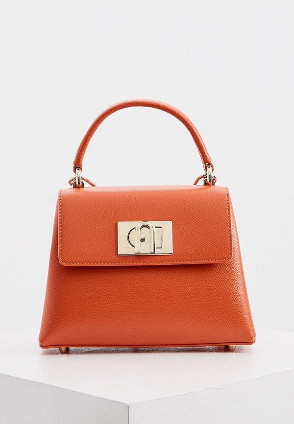 женская сумка с ручками furla, оранжевая