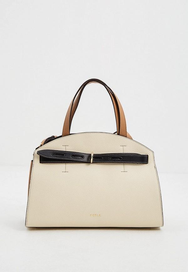 женская сумка-тоут furla, бежевая