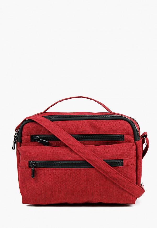 женская сумка через плечо медведково, красная