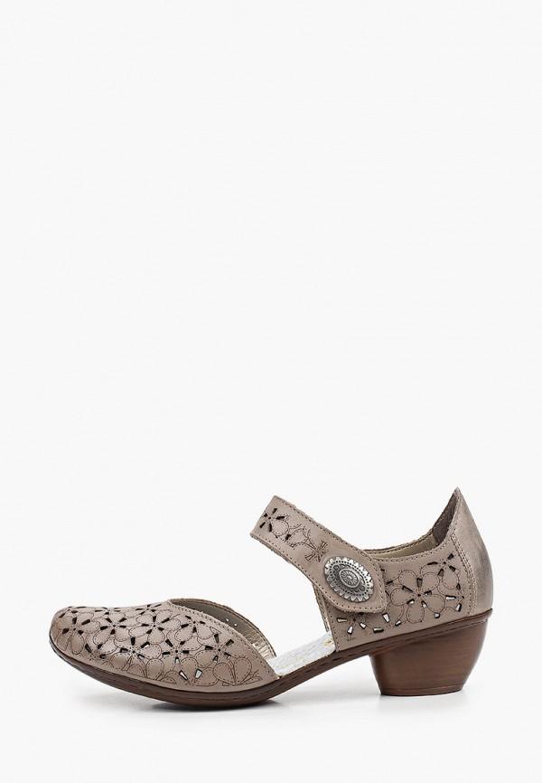 женские туфли rieker, серые