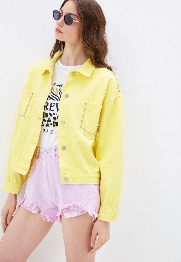 женская джинсовые куртка euros style, желтая