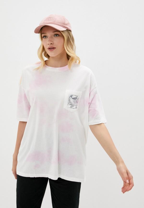 женская футболка billabong, розовая