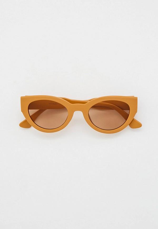 женские солнцезащитные очки кошачьи глаза vitacci, бежевые