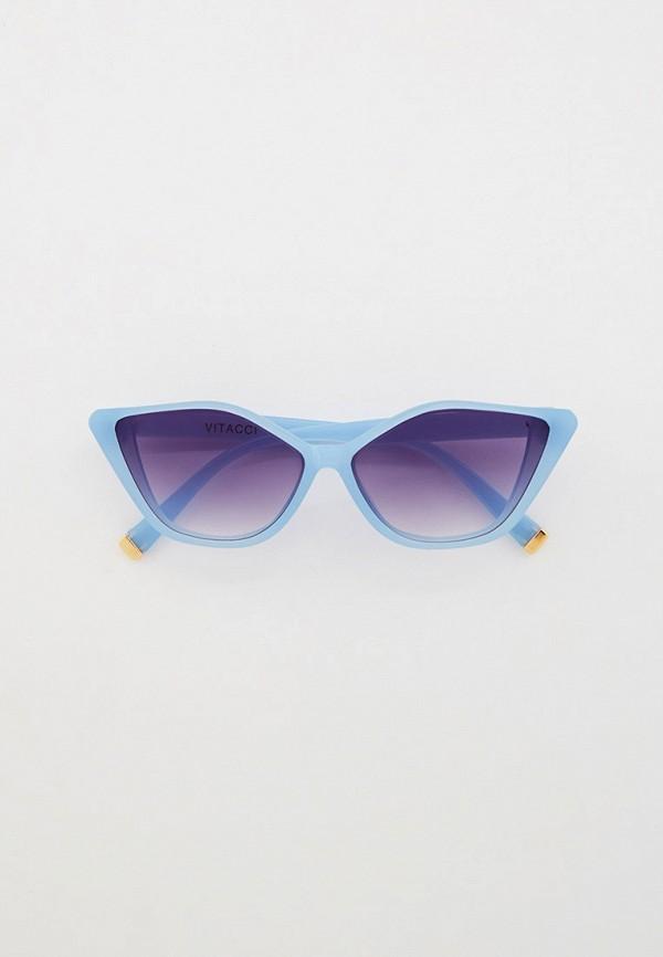 женские солнцезащитные очки кошачьи глаза vitacci, голубые
