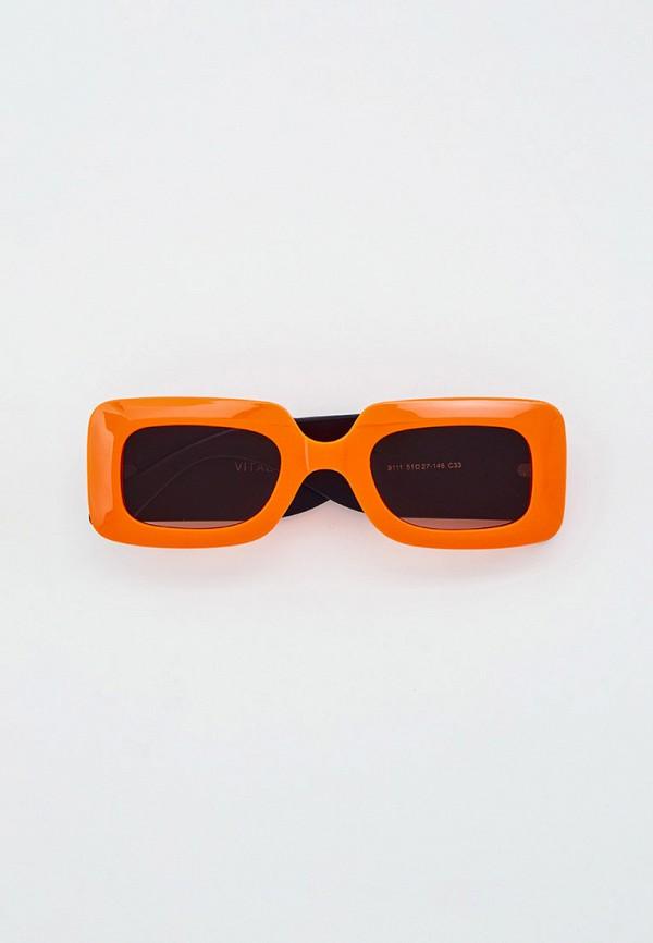 женские квадратные солнцезащитные очки vitacci, оранжевые