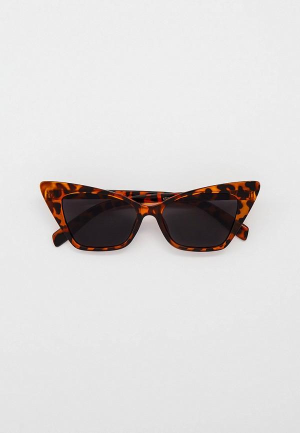 женские солнцезащитные очки кошачьи глаза vitacci, коричневые