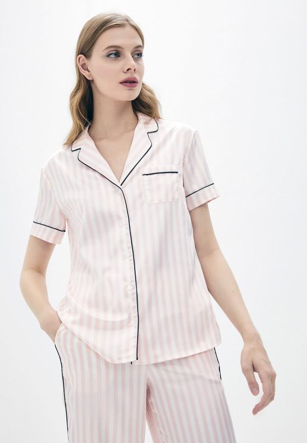 женская блузка с коротким рукавом love republic, розовая