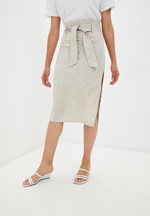 женская прямые юбка j-splash, бежевая