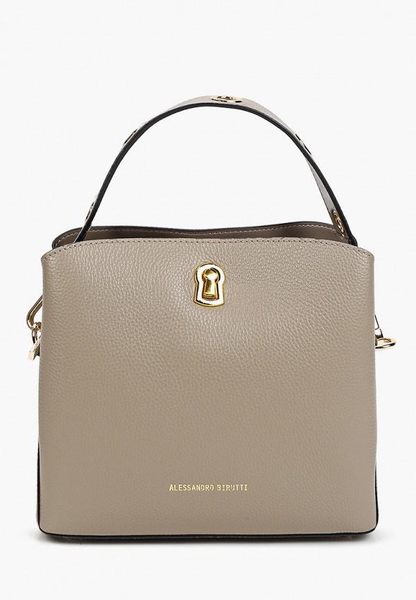 женская сумка с ручками alessandro birutti, серая