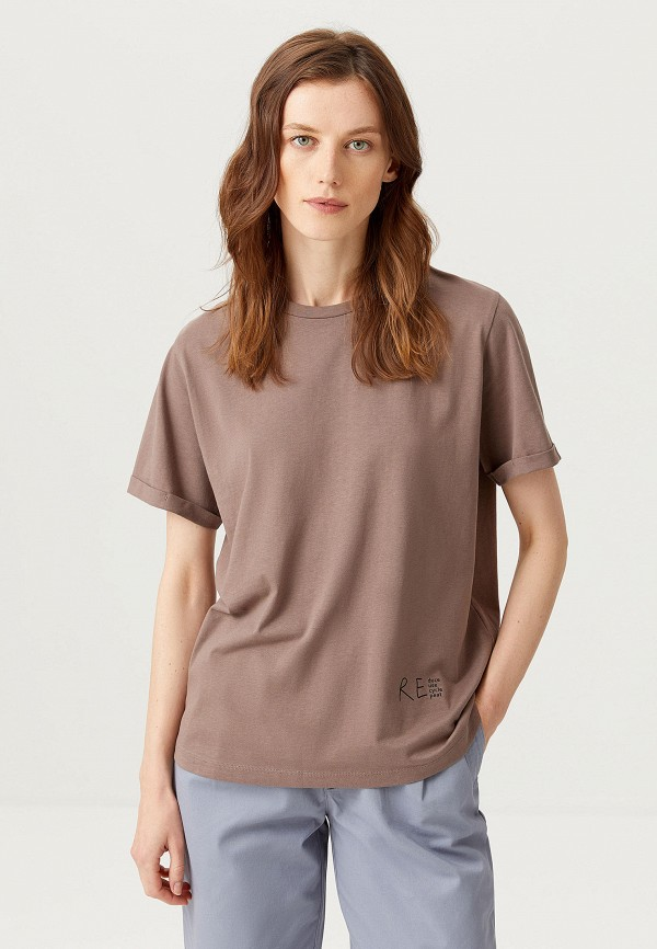 женская футболка sela, коричневая