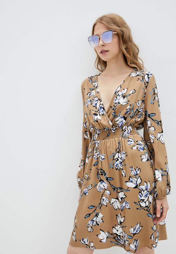 женское платье с запахом vittoria vicci, коричневое