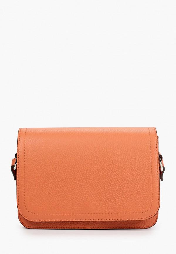 женская сумка через плечо медведково, оранжевая