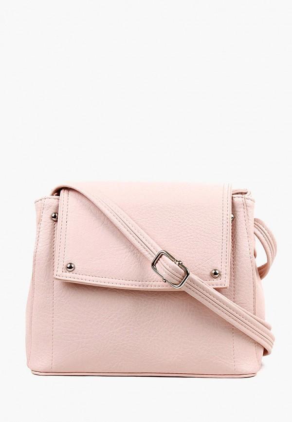 женская сумка через плечо медведково, розовая