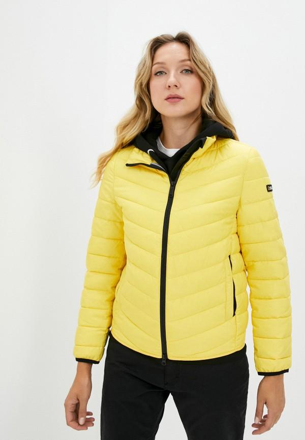 женская утепленные куртка national geographic, желтая