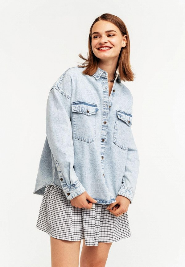 женская джинсовые рубашка befree, голубая